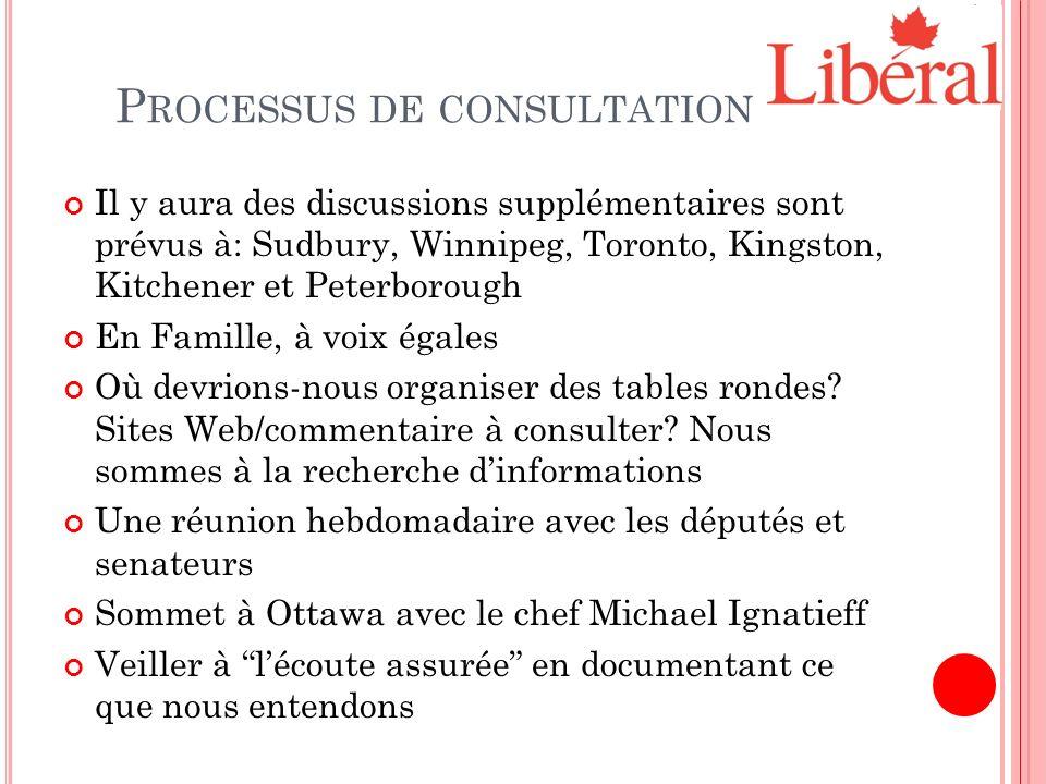 P ROCESSUS DE CONSULTATION Il y aura des discussions supplémentaires sont prévus à: Sudbury, Winnipeg, Toronto, Kingston, Kitchener et Peterborough En Famille, à voix égales Où devrions-nous organiser des tables rondes.