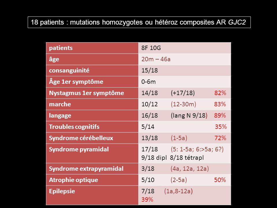 patients8F 10G âge20m – 46a consanguinité15/18 Âge 1er symptôme0-6m Nystagmus 1er symptôme14/18 (+17/18) 82% marche10/12 (12-30m) 83% langage16/18 (lang N 9/18) 89% Troubles cognitifs5/14 35% Syndrome cérébelleux13/18 (1-5a) 72% Syndrome pyramidal17/18 (5: 1-5a; 6:>5a; 6?) 9/18 dipl 8/18 tétrapl Syndrome extrapyramidal3/18 (4a, 12a, 12a) Atrophie optique5/10 (2-5a) 50% Epilepsie7/18 (1a,8-12a) 39% 18 patients : mutations homozygotes ou hétéroz composites AR GJC2