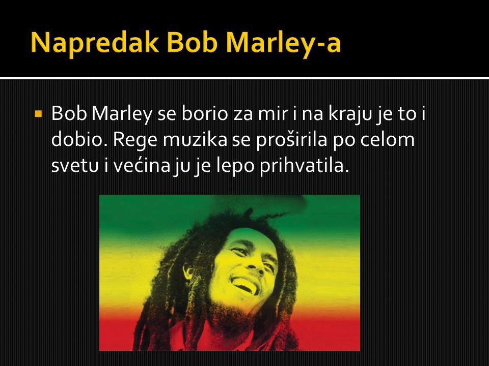 Bob Marley se borio za mir i na kraju je to i dobio. Rege muzika se proširila po celom svetu i većina ju je lepo prihvatila.