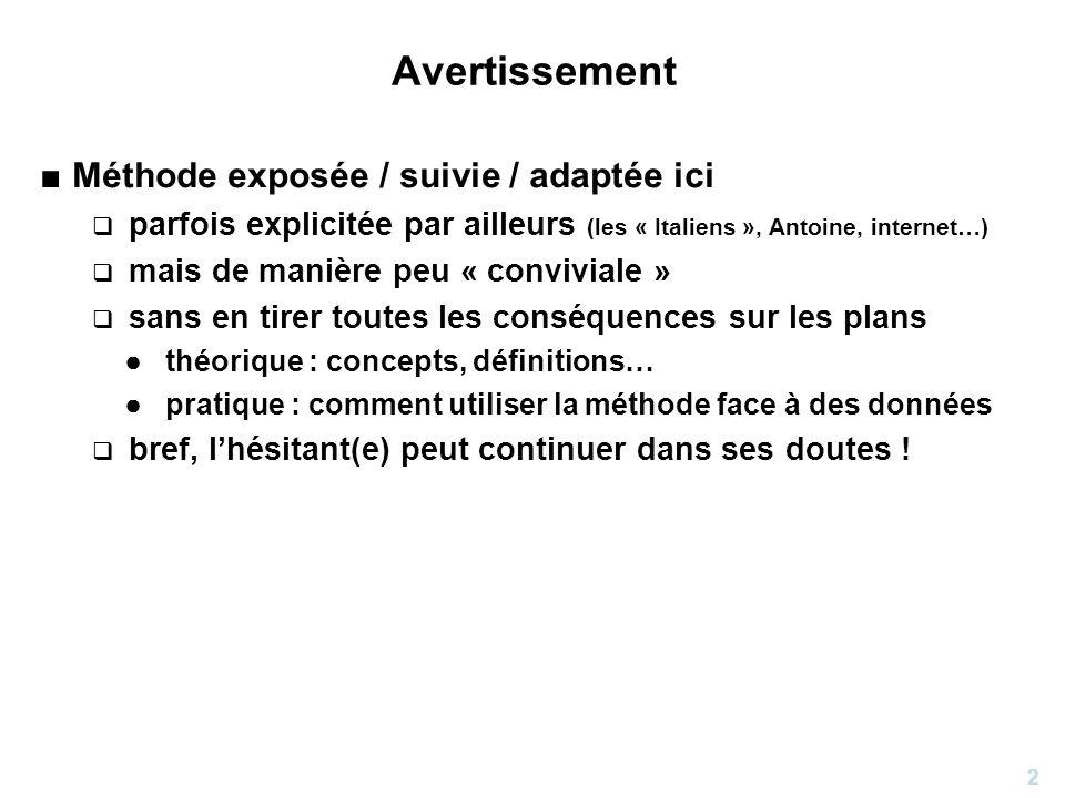 2 Avertissement Méthode exposée / suivie / adaptée ici parfois explicitée par ailleurs (les « Italiens », Antoine, internet…) mais de manière peu « co