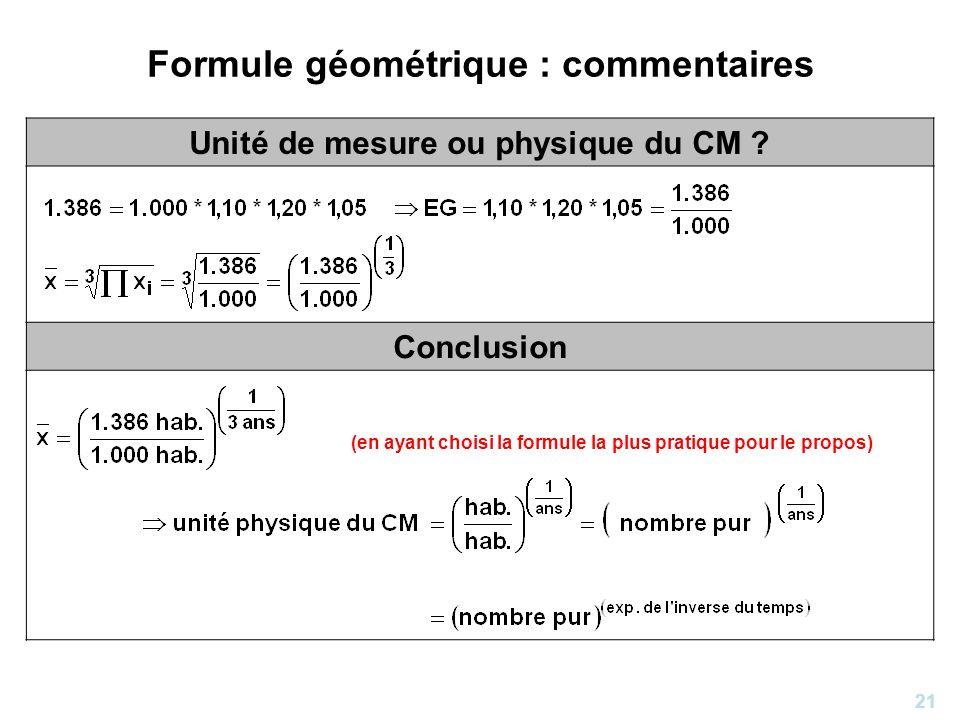 21 Formule géométrique : commentaires Unité de mesure ou physique du CM ? Conclusion (en ayant choisi la formule la plus pratique pour le propos)