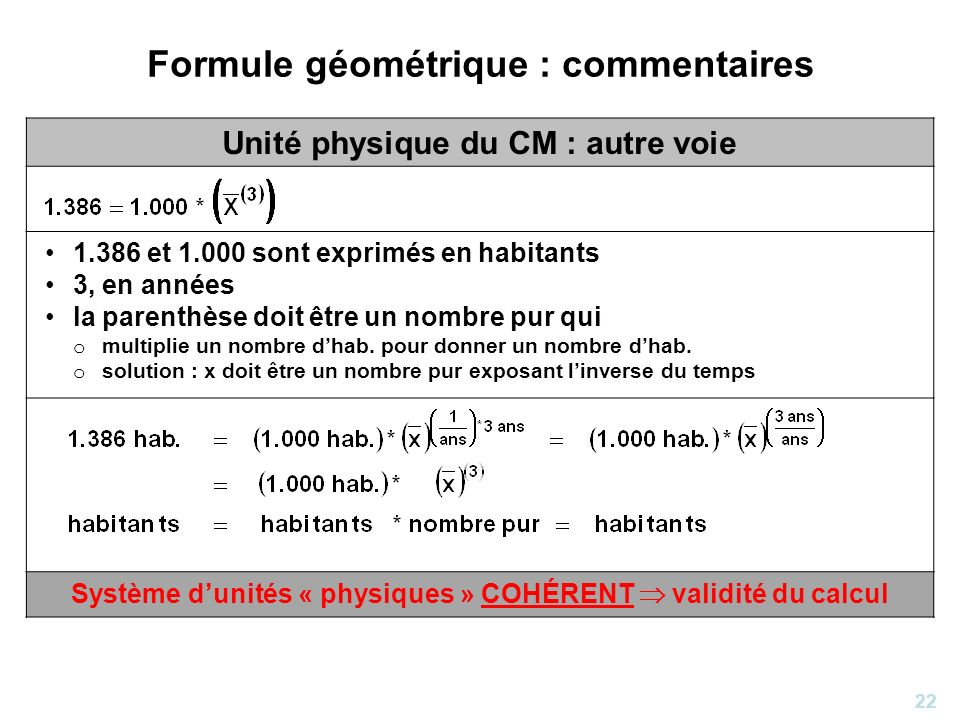 22 Formule géométrique : commentaires Unité physique du CM : autre voie 1.386 et 1.000 sont exprimés en habitants 3, en années la parenthèse doit être