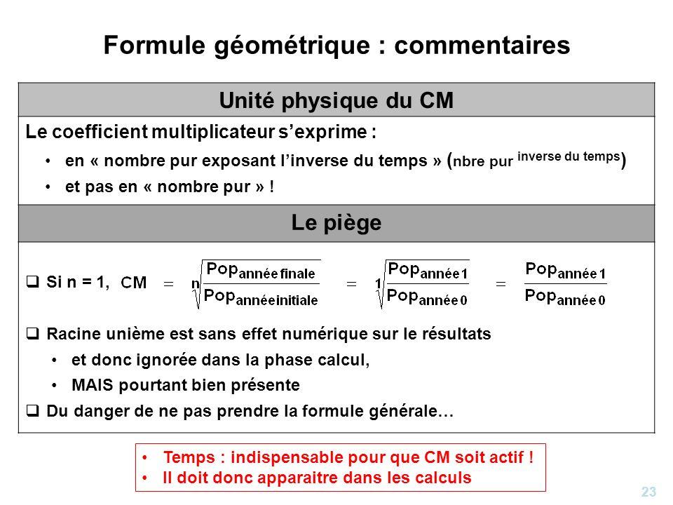 23 Formule géométrique : commentaires Unité physique du CM Le coefficient multiplicateur sexprime : en « nombre pur exposant linverse du temps » ( nbr