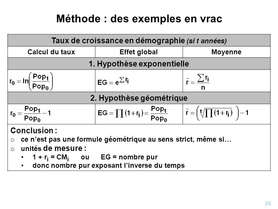 26 Méthode : des exemples en vrac Taux de croissance en démographie (si t années) Calcul du tauxEffet globalMoyenne 1. Hypothèse exponentielle 2. Hypo