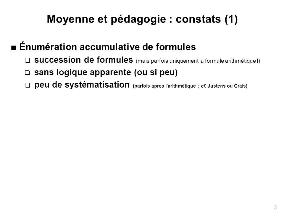 4 Moyenne et pédagogie : constats (2) Énumération accumulative de formules Règles dutilisation : un musée des horreurs .