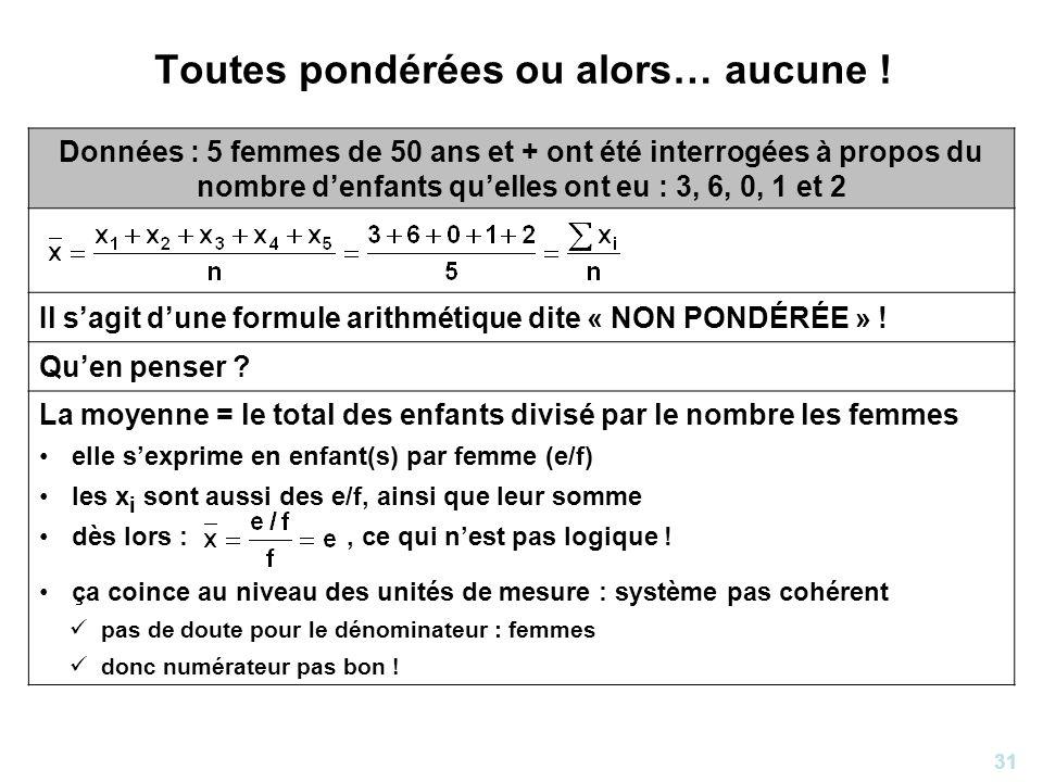 31 Toutes pondérées ou alors… aucune ! Données : 5 femmes de 50 ans et + ont été interrogées à propos du nombre denfants quelles ont eu : 3, 6, 0, 1 e