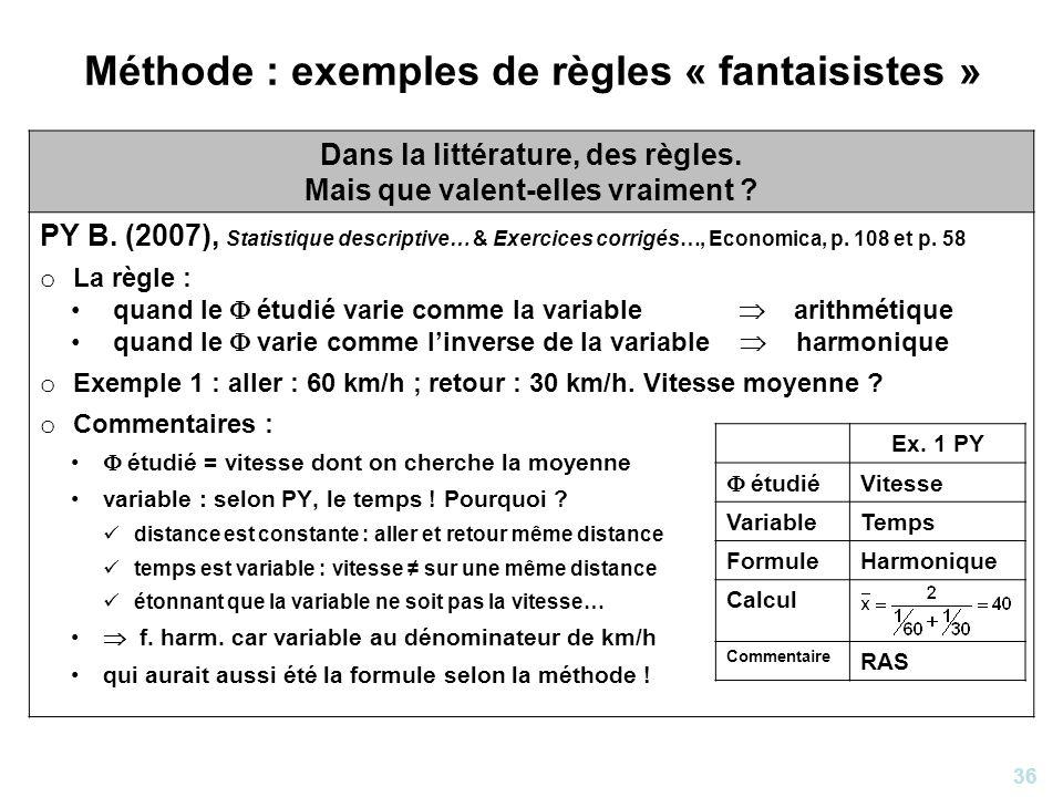 36 Méthode : exemples de règles « fantaisistes » Dans la littérature, des règles. Mais que valent-elles vraiment ? PY B. (2007), Statistique descripti