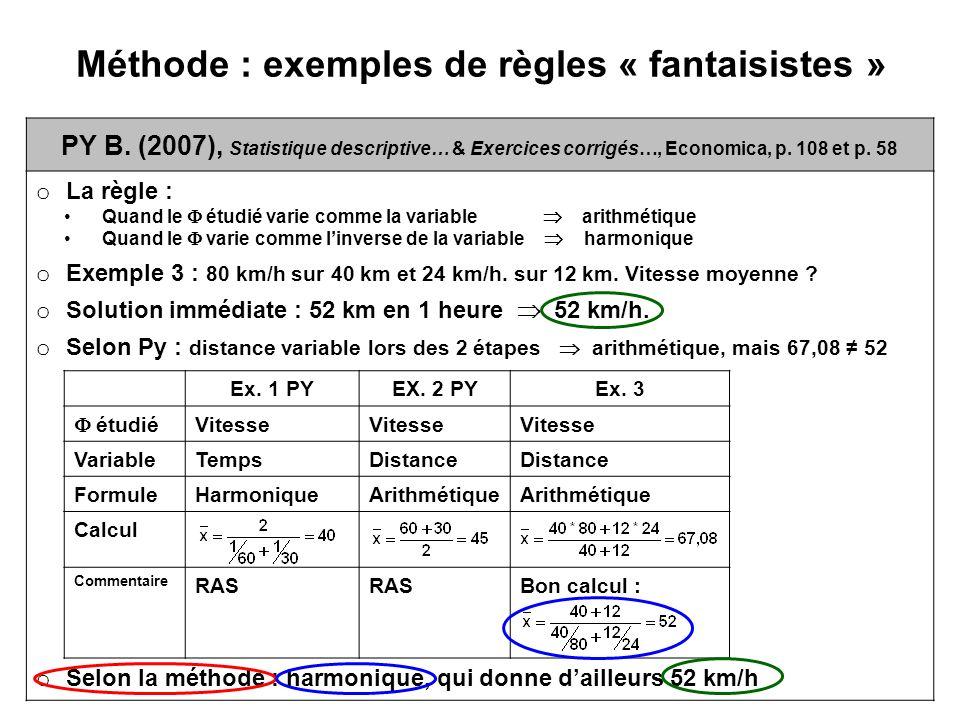 Méthode : exemples de règles « fantaisistes » PY B. (2007), Statistique descriptive… & Exercices corrigés…, Economica, p. 108 et p. 58 o La règle : Qu