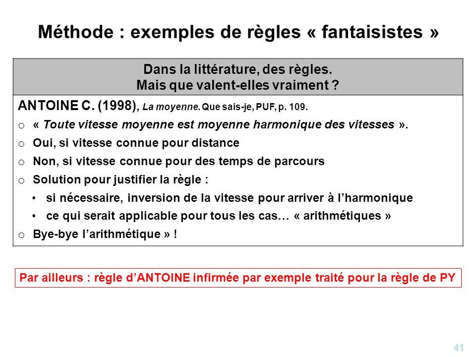 41 Méthode : exemples de règles « fantaisistes » Dans la littérature, des règles. Mais que valent-elles vraiment ? ANTOINE C. (1998), La moyenne. Que