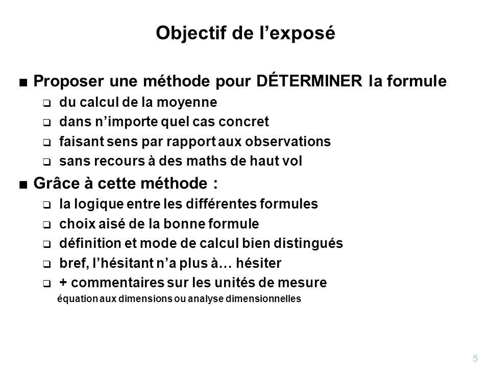 5 Objectif de lexposé Proposer une méthode pour DÉTERMINER la formule du calcul de la moyenne dans nimporte quel cas concret faisant sens par rapport