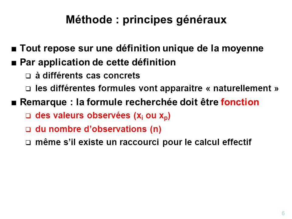 6 Méthode : principes généraux Tout repose sur une définition unique de la moyenne Par application de cette définition à différents cas concrets les d