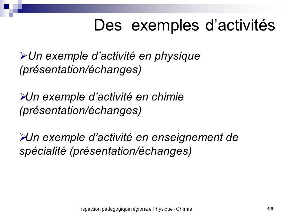 Inspection pédagogique régionale Physique - Chimie 19 Des exemples dactivités Un exemple dactivité en physique (présentation/échanges) Un exemple dactivité en chimie (présentation/échanges) Un exemple dactivité en enseignement de spécialité (présentation/échanges)