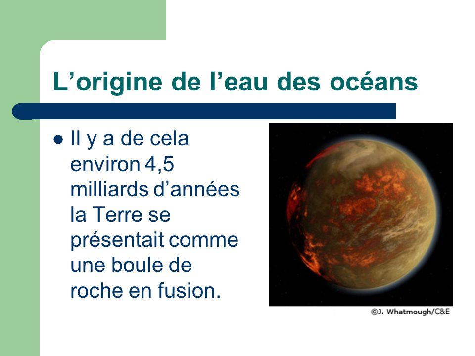Lorigine de leau des océans Il y a de cela environ 4,5 milliards dannées la Terre se présentait comme une boule de roche en fusion.