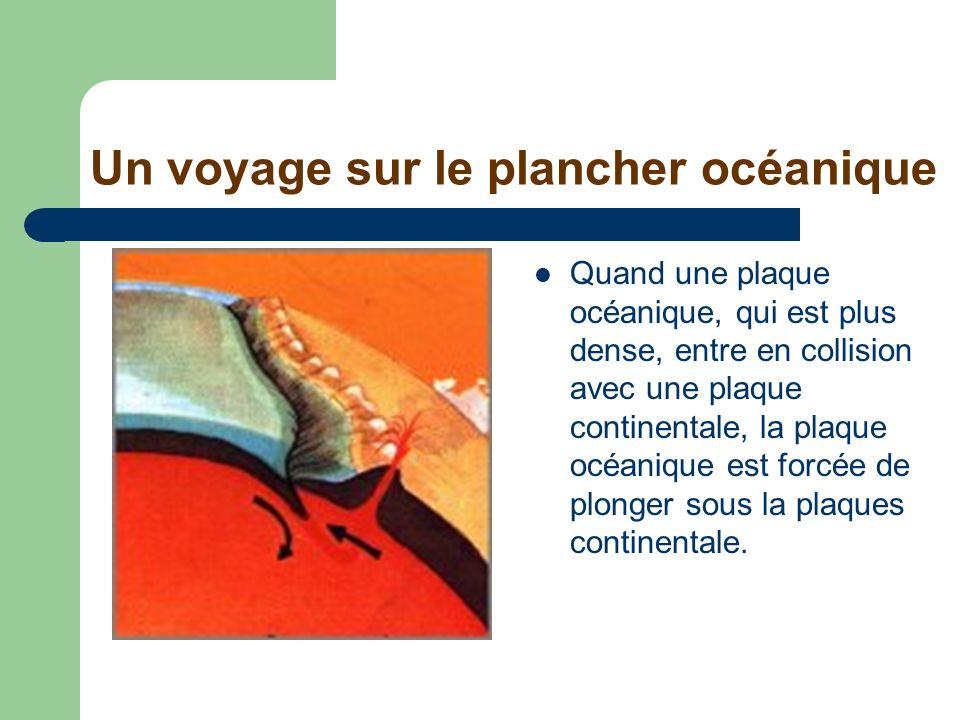 Un voyage sur le plancher océanique Quand une plaque océanique, qui est plus dense, entre en collision avec une plaque continentale, la plaque océaniq
