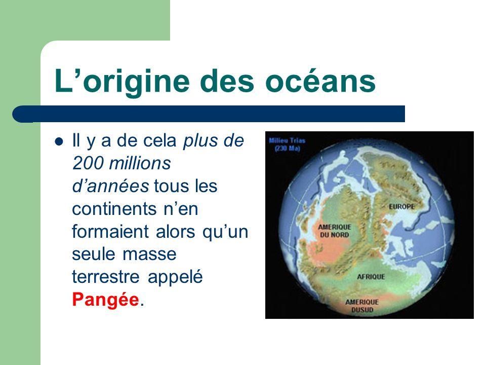 Lorigine des océans Il y a de cela plus de 200 millions dannées tous les continents nen formaient alors quun seule masse terrestre appelé Pangée.