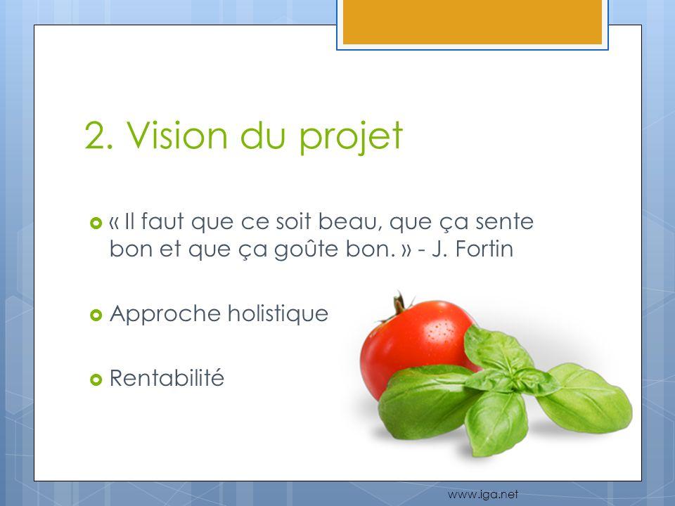 2. Vision du projet « Il faut que ce soit beau, que ça sente bon et que ça goûte bon. » - J. Fortin Approche holistique Rentabilité www.iga.net