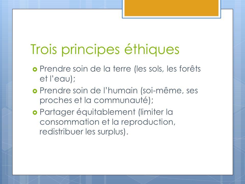 Trois principes éthiques Prendre soin de la terre (les sols, les forêts et leau); Prendre soin de lhumain (soi-même, ses proches et la communauté); Pa