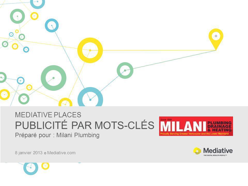MEDIATIVE PLACES PUBLICITÉ PAR MOTS-CLÉS Préparé pour : Milani Plumbing 8 janvier 2013 Mediative.com