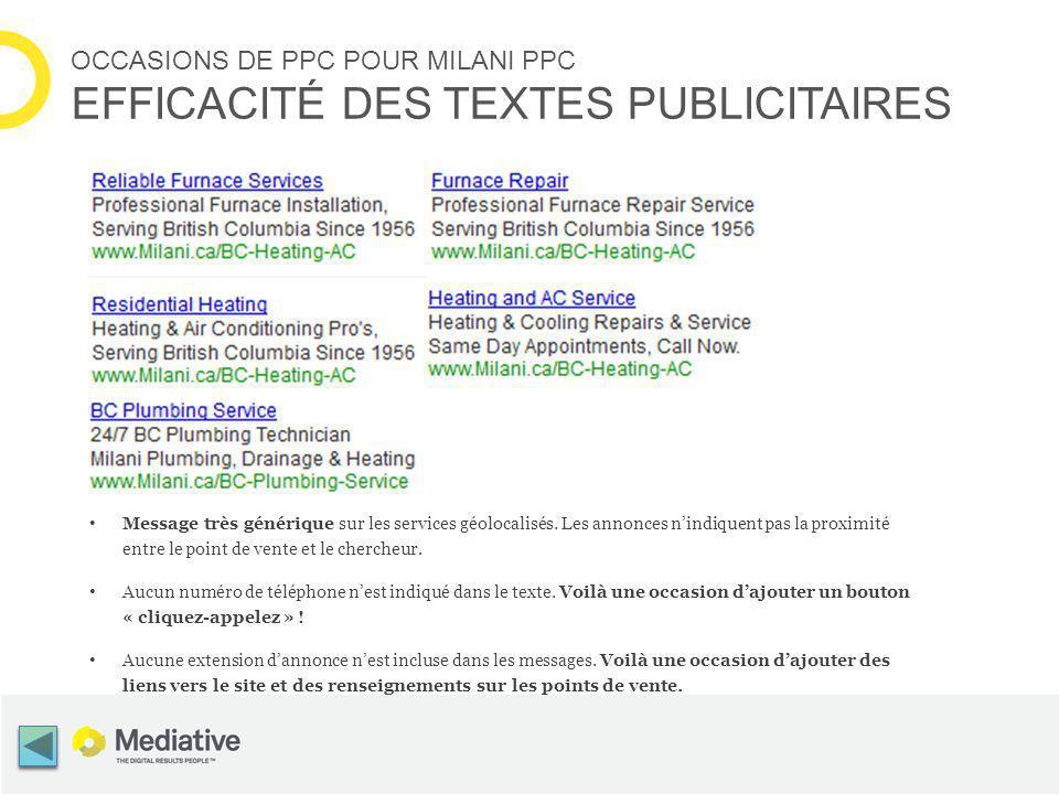 OCCASIONS DE PPC POUR MILANI PPC EFFICACITÉ DES TEXTES PUBLICITAIRES Message très générique sur les services géolocalisés.