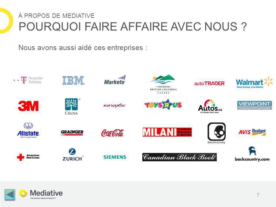 Nous avons aussi aidé ces entreprises : 7 À PROPOS DE MEDIATIVE POURQUOI FAIRE AFFAIRE AVEC NOUS