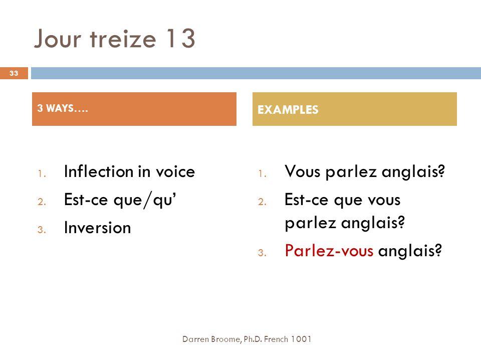Jour treize 13 1.Inflection in voice 2. Est-ce que/qu 3.