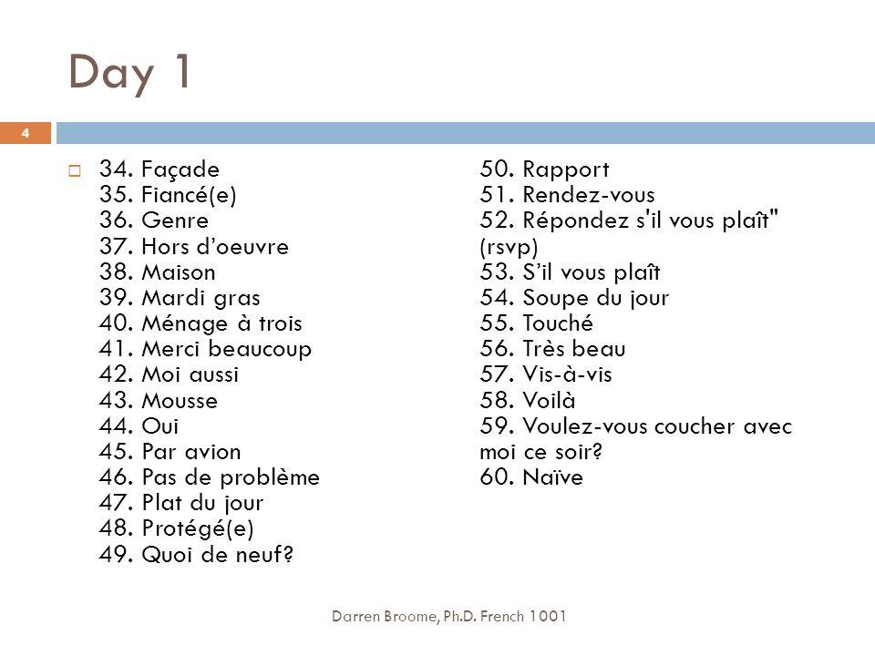 Day 1 34.Façade 35. Fiancé(e) 36. Genre 37. Hors doeuvre 38.