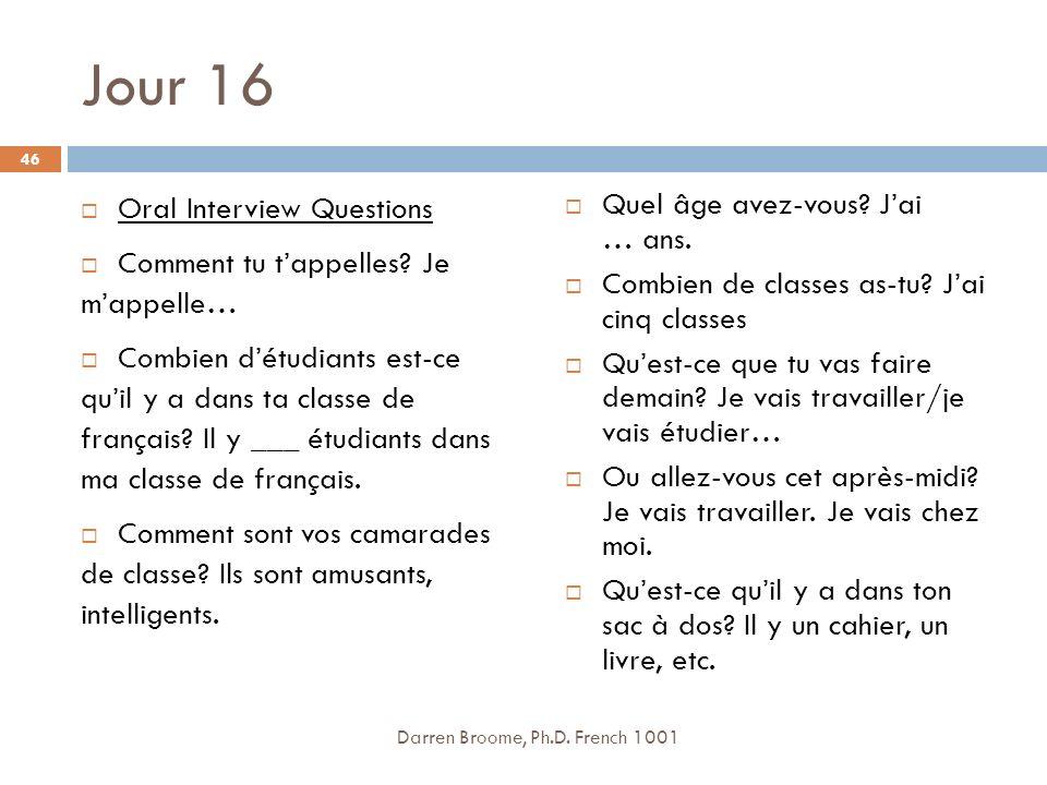 Jour 16 Oral Interview Questions Comment tu tappelles.