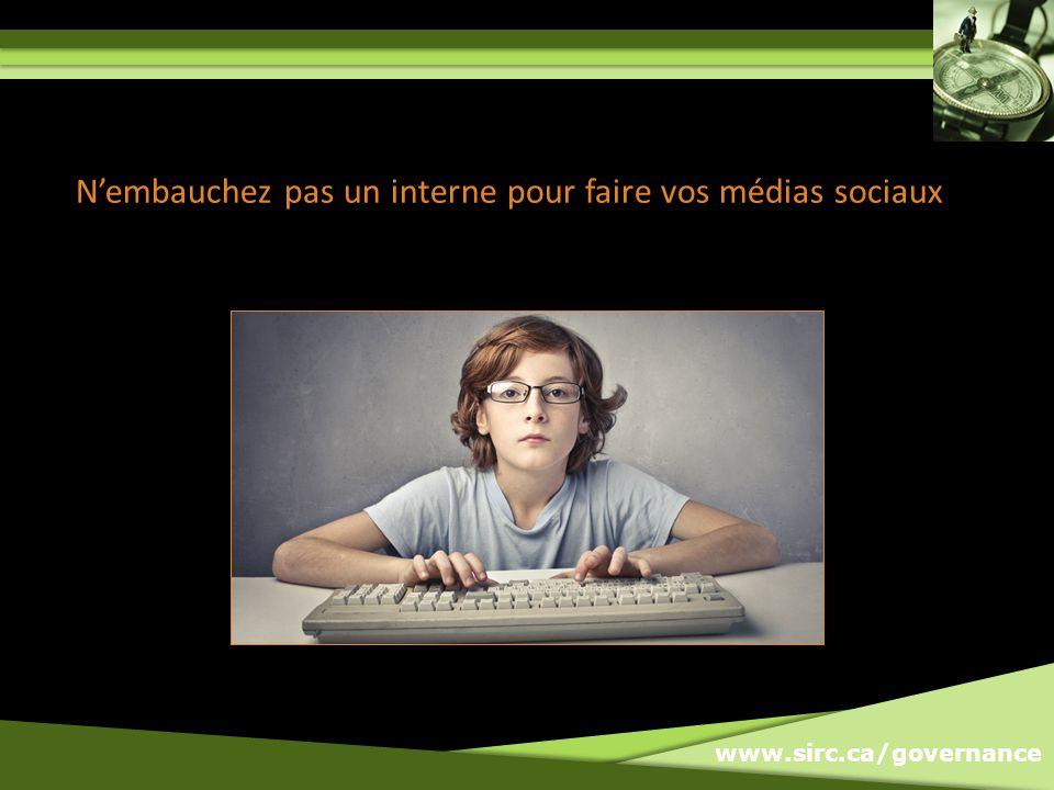 www.sirc.ca/governance Nembauchez pas un interne pour faire vos médias sociaux