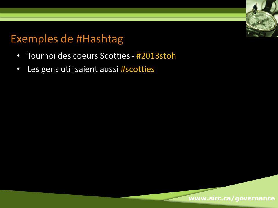 www.sirc.ca/governance Exemples de #Hashtag Tournoi des coeurs Scotties - #2013stoh Les gens utilisaient aussi #scotties