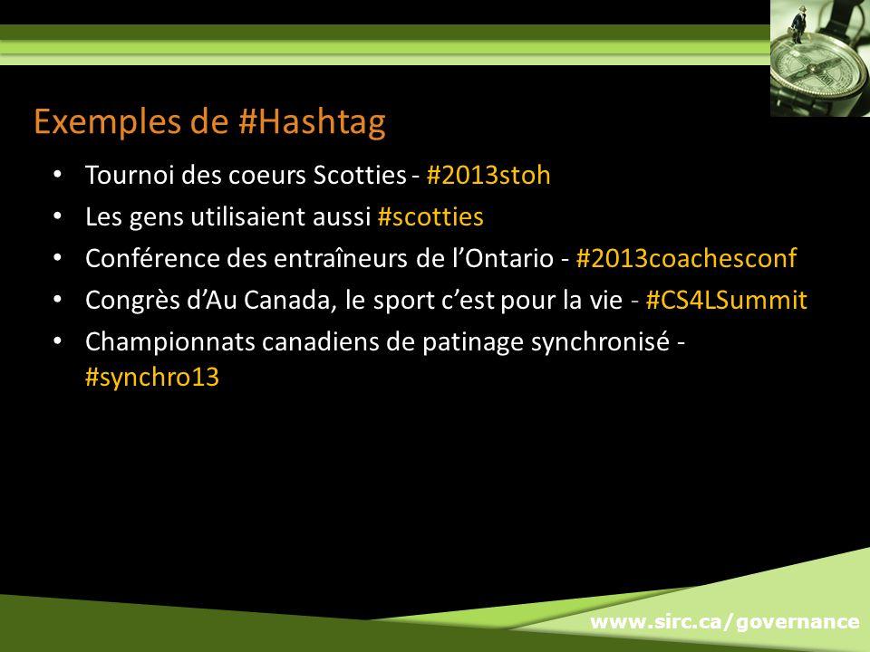 www.sirc.ca/governance Exemples de #Hashtag Tournoi des coeurs Scotties - #2013stoh Les gens utilisaient aussi #scotties Conférence des entraîneurs de lOntario - #2013coachesconf Congrès dAu Canada, le sport cest pour la vie - #CS4LSummit Championnats canadiens de patinage synchronisé - #synchro13