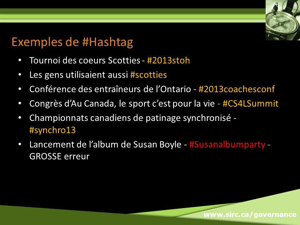 www.sirc.ca/governance Exemples de #Hashtag Tournoi des coeurs Scotties - #2013stoh Les gens utilisaient aussi #scotties Conférence des entraîneurs de lOntario - #2013coachesconf Congrès dAu Canada, le sport cest pour la vie - #CS4LSummit Championnats canadiens de patinage synchronisé - #synchro13 Lancement de lalbum de Susan Boyle - #Susanalbumparty - GROSSE erreur