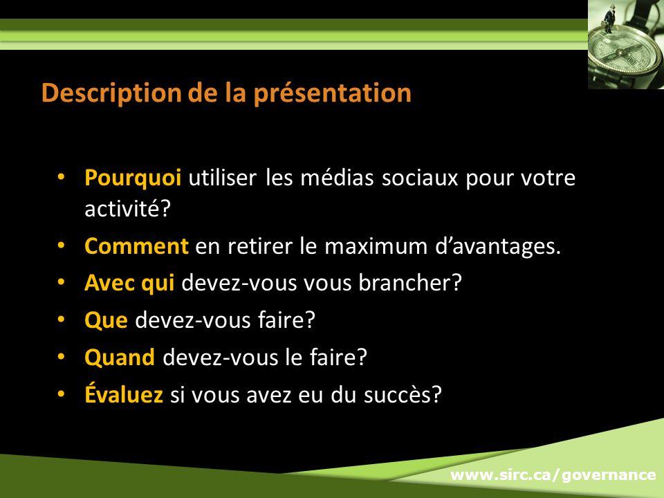 www.sirc.ca/governance Pendant une activité, que ce soit une conférence ou un championnat, lattention sera sur votre organisation par le biais des médias sociaux que vous le vouliez ou non.