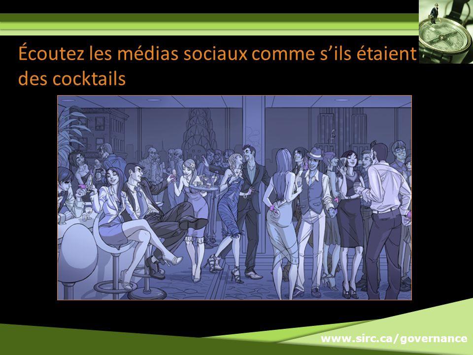 www.sirc.ca/governance Écoutez les médias sociaux comme sils étaient des cocktails