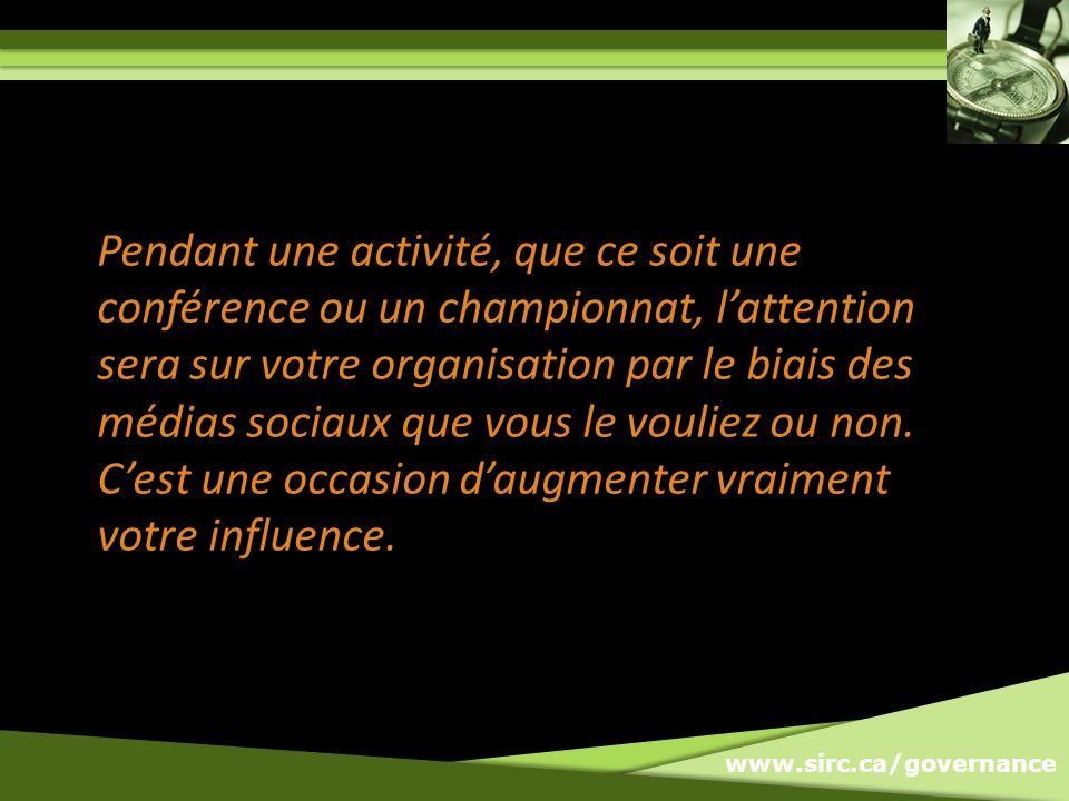 www.sirc.ca/governance Avec QUI devez-vous vous BRANCHER.