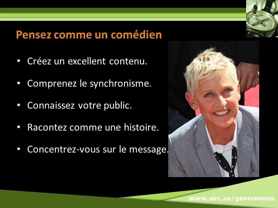 www.sirc.ca/governance Pensez comme un comédien Créez un excellent contenu.