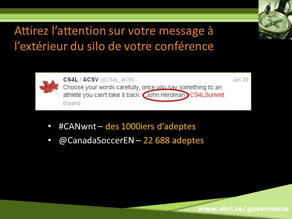www.sirc.ca/governance Attirez lattention sur votre message à lextérieur du silo de votre conférence #CANwnt – des 1000iers dadeptes @CanadaSoccerEN – 22 688 adeptes
