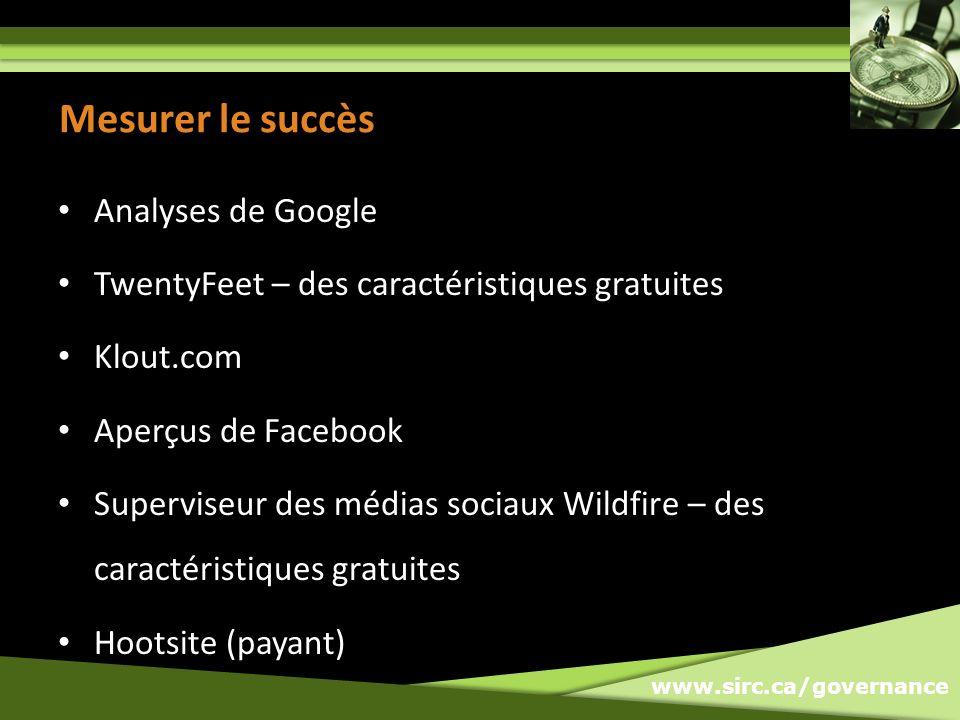 www.sirc.ca/governance Mesurer le succès Analyses de Google TwentyFeet – des caractéristiques gratuites Klout.com Aperçus de Facebook Superviseur des médias sociaux Wildfire – des caractéristiques gratuites Hootsite (payant)