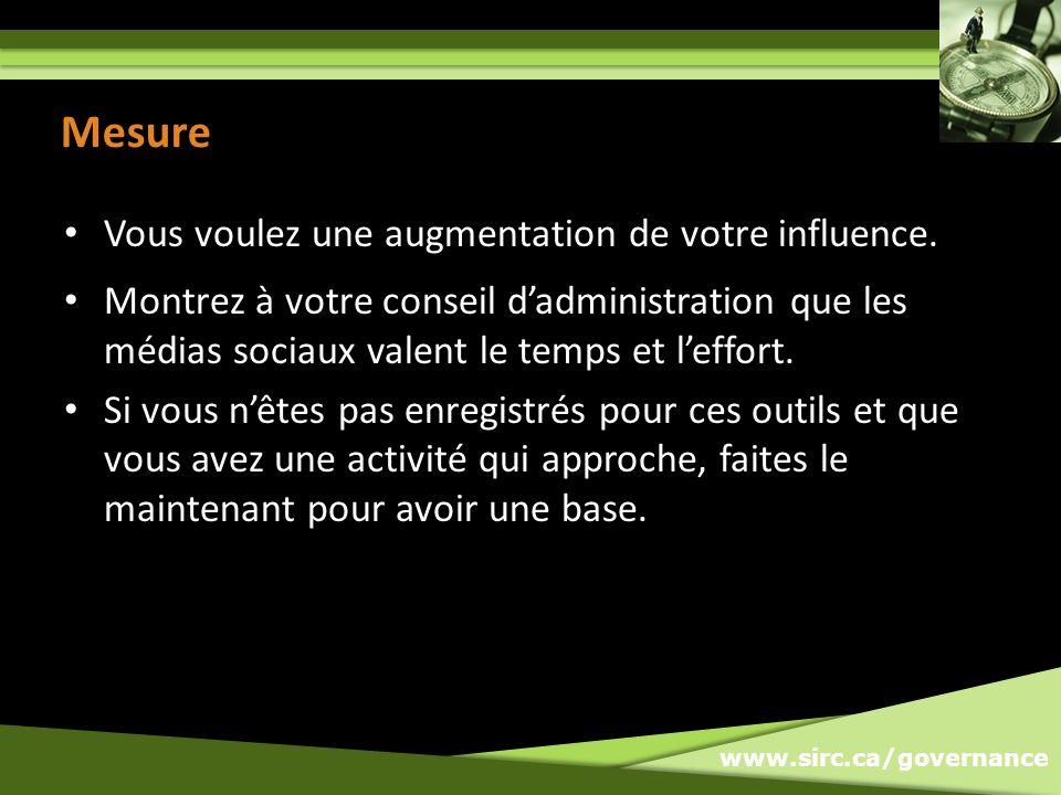 www.sirc.ca/governance Mesure Vous voulez une augmentation de votre influence.