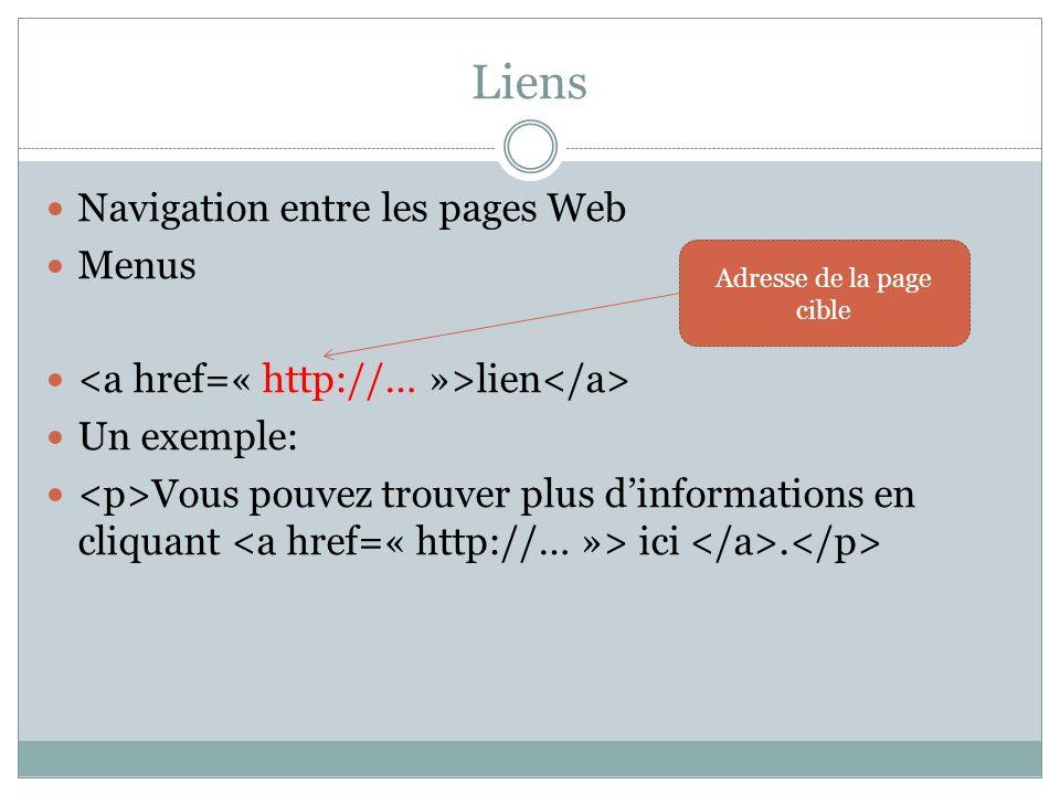 Liens Navigation entre les pages Web Menus lien Un exemple: Vous pouvez trouver plus dinformations en cliquant ici.