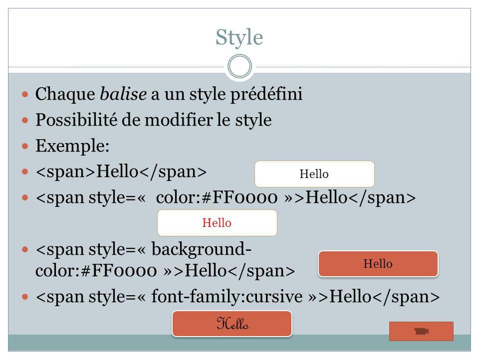 Style Chaque balise a un style prédéfini Possibilité de modifier le style Exemple: Hello