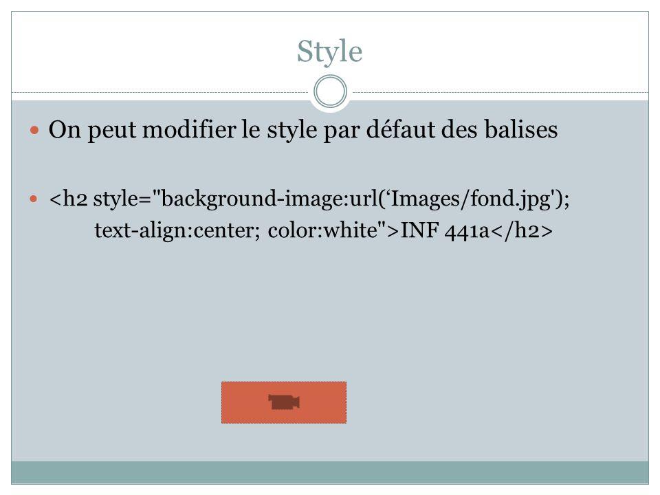 Style On peut modifier le style par défaut des balises <h2 style= background-image:url(Images/fond.jpg ); text-align:center; color:white >INF 441a