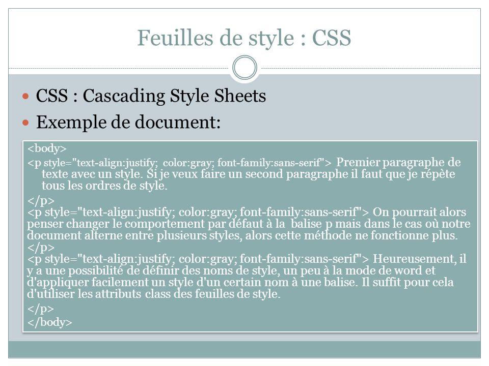 Feuilles de style : CSS CSS : Cascading Style Sheets Exemple de document: Premier paragraphe de texte avec un style.