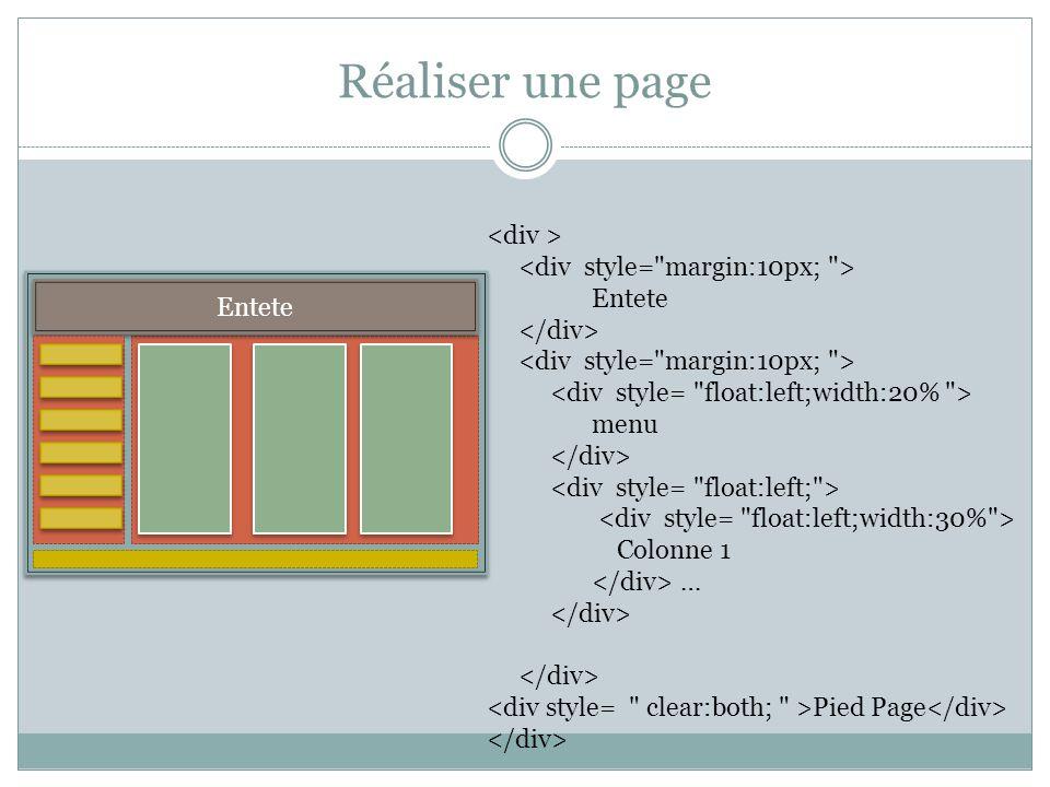 fond Réaliser une page Entete Entete menu Colonne 1 … Pied Page