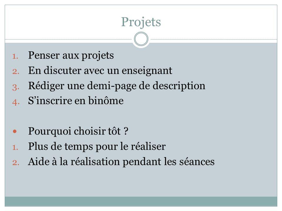 Projets 1. Penser aux projets 2. En discuter avec un enseignant 3.