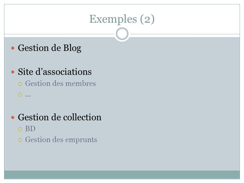 Exemples (2) Gestion de Blog Site dassociations Gestion des membres … Gestion de collection BD Gestion des emprunts
