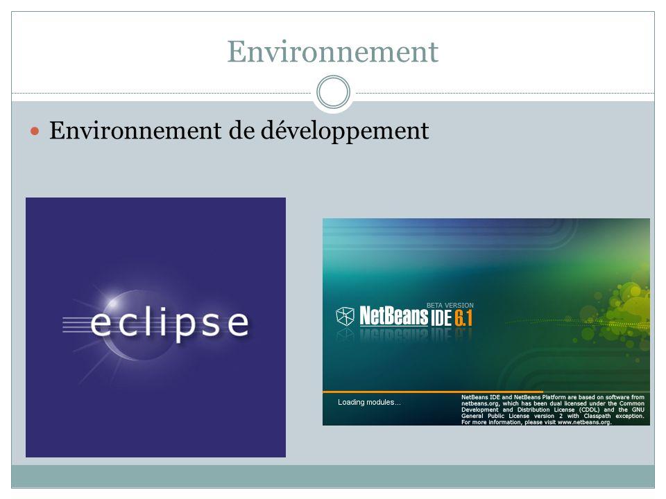 Environnement Environnement de développement