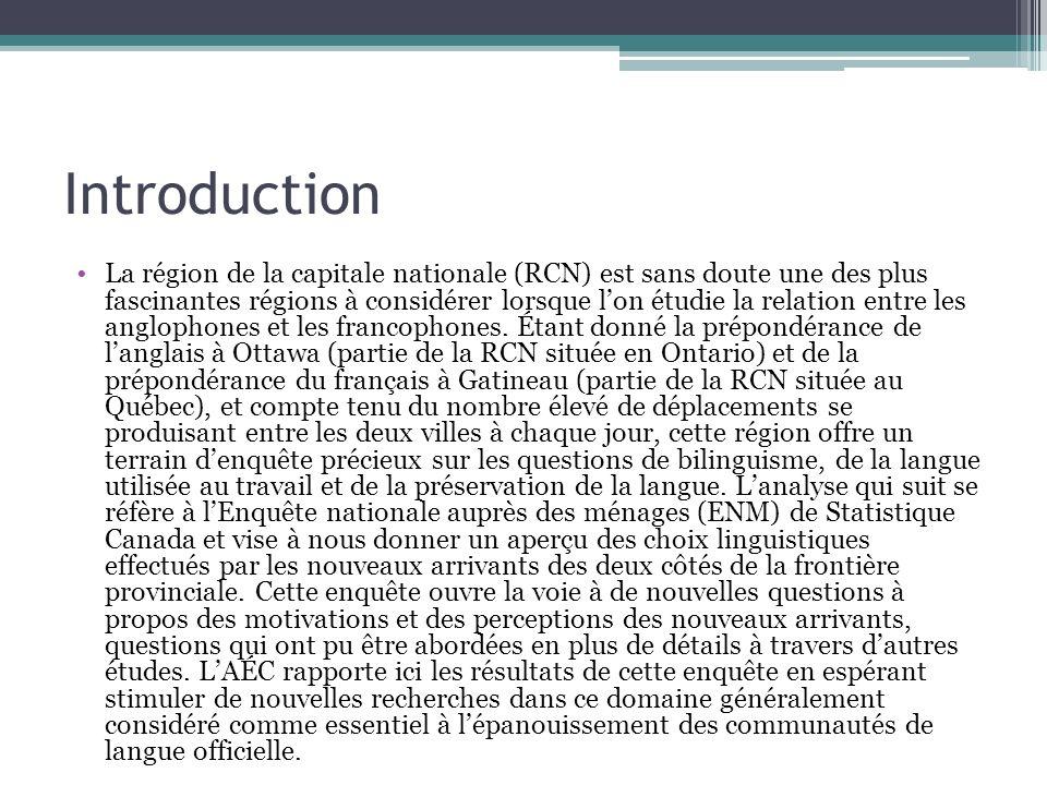 Introduction La région de la capitale nationale (RCN) est sans doute une des plus fascinantes régions à considérer lorsque lon étudie la relation entre les anglophones et les francophones.