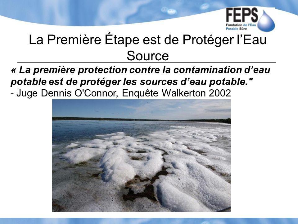 La Première Étape est de Protéger lEau Source « La première protection contre la contamination deau potable est de protéger les sources deau potable.