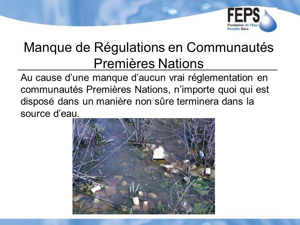 Manque de Régulations en Communautés Premières Nations Au cause dune manque daucun vrai réglementation en communautés Premières Nations, nimporte quoi
