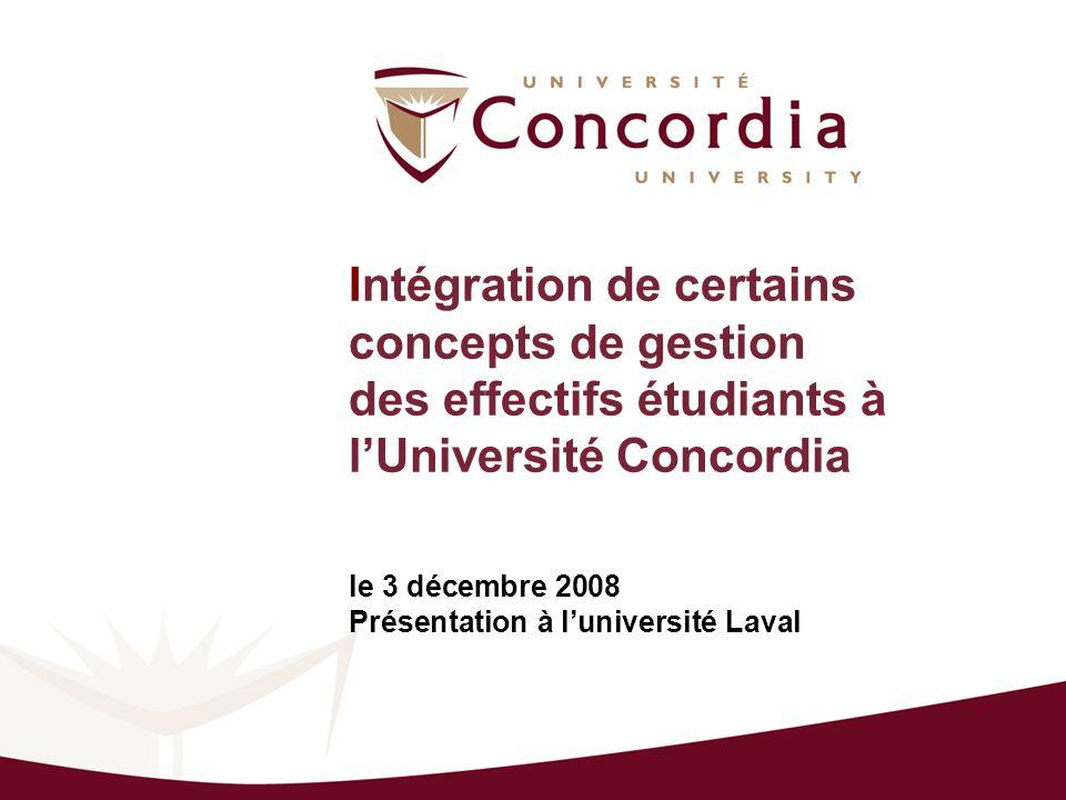 Intégration de certains concepts de gestion des effectifs étudiants à lUniversité Concordia le 3 décembre 2008 Présentation à luniversité Laval
